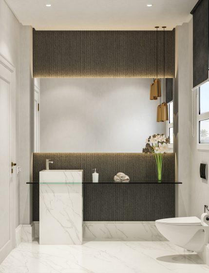 Original diseño cuarto de baño con texturas