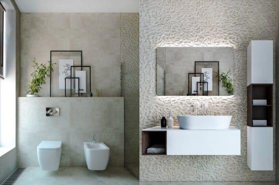 Decoración paredes baño con texturas