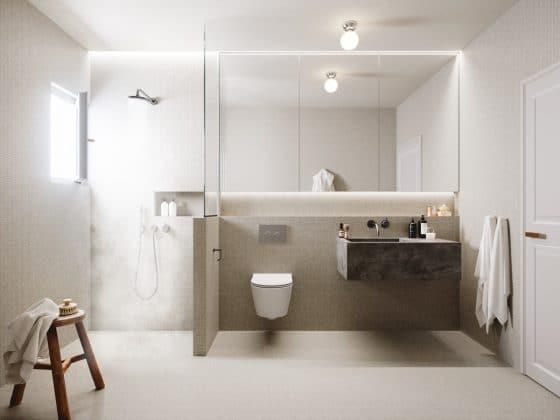 Diseño baño minimalista colores neutros