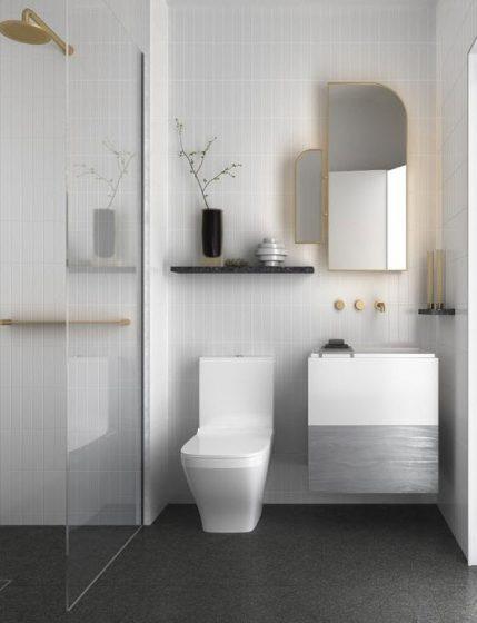 Cuarto de baño gris con blanco moderno