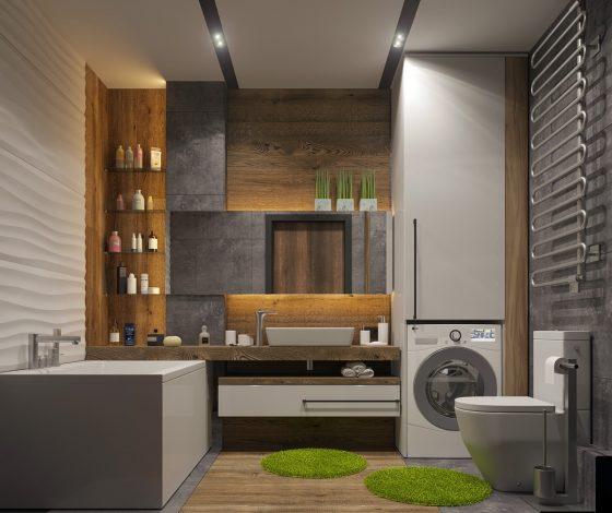 Decoración de baño con alfombras de césped artificial