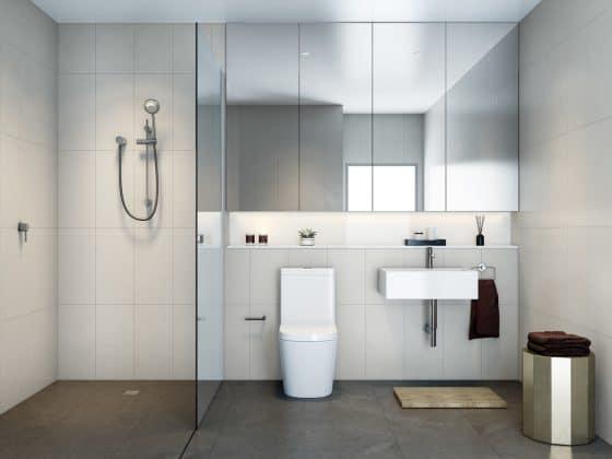 Moderno diseño cuarto de baño con grandes espejos