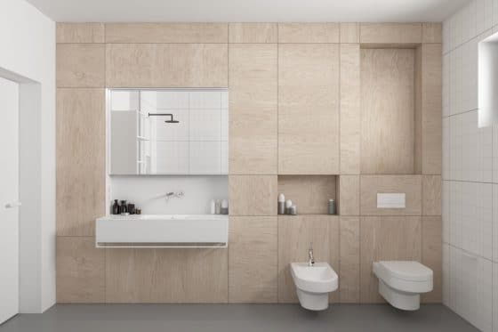 Madera aplicada a pared cuarto de baño sencillo