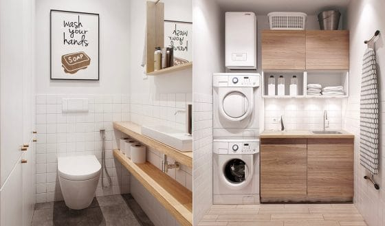 Pequeño y sencillo cuarto de baño blanco con maderas