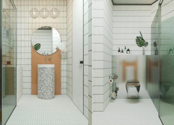 Pequeño moderno baño