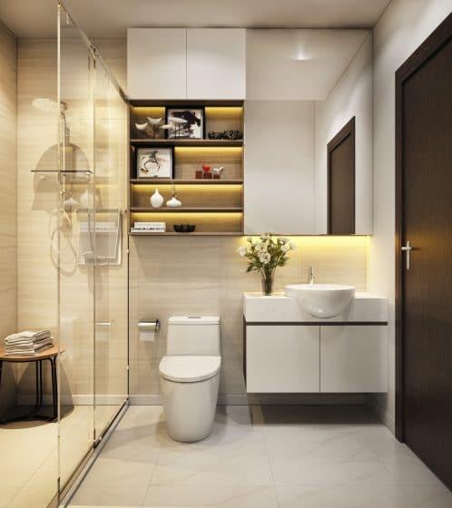 Cuarto de baño moderno iluminado