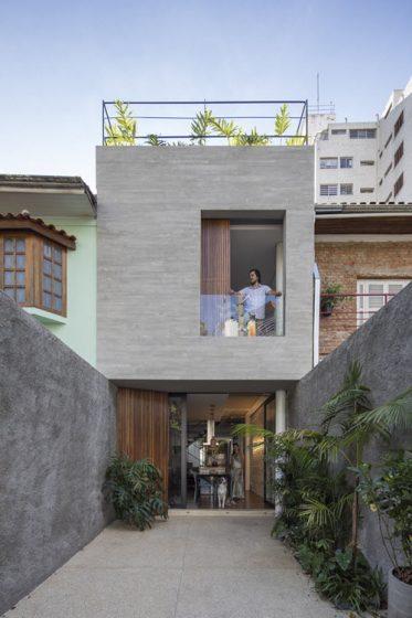 Fachada casa moderna pequeña dos pisos