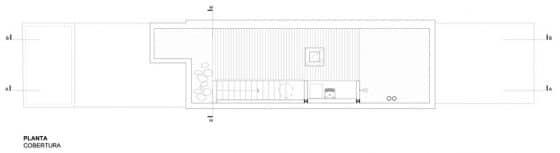 Plano de techo casa pequeña angosta