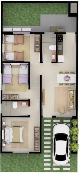 Plano de casa pequeña de un piso y tres dormitorios