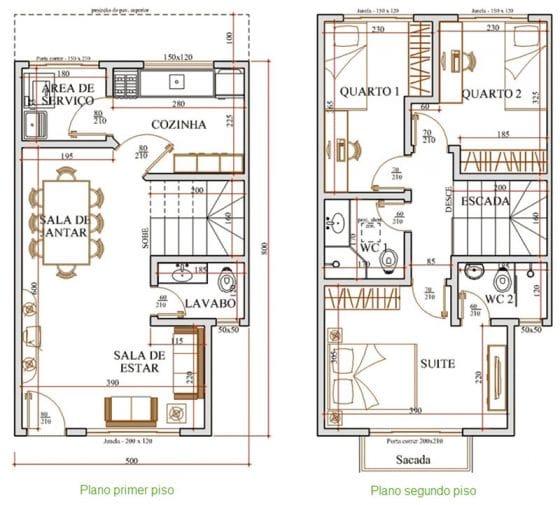 Planos de casas pequeñas con medidas acotadas