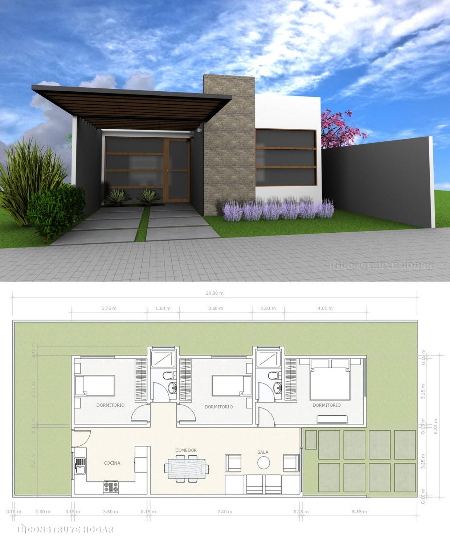 Ideas de fachada y planos para construir casa pequeña