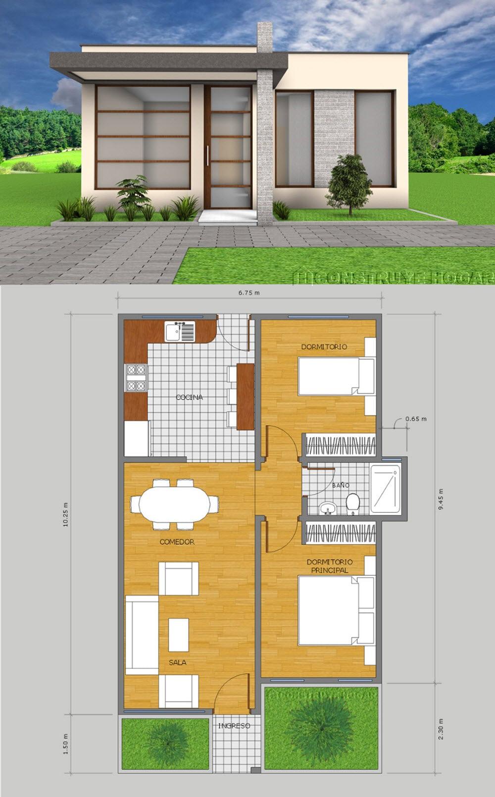 Diseño de fachada y planos de casa pequeña