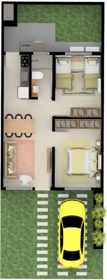 Plano pequeña casa de un piso dos dormitorios