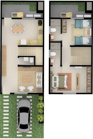 Plano casa de dos pisos pequeña