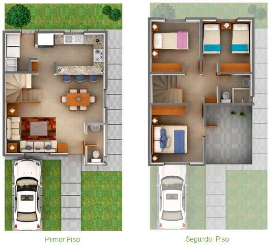 Plano 3D casa pequeña dos pisos