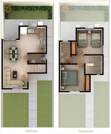 Casa pequeña dos plantas dormitorios