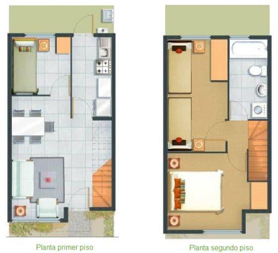 Diseño plano casa económica pequeña dos pisos