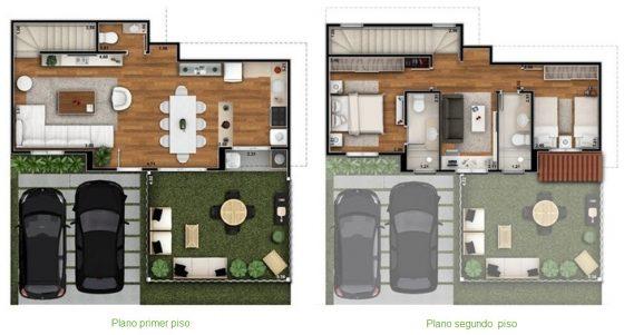 Plano pequeña casa en terreno cuadrado