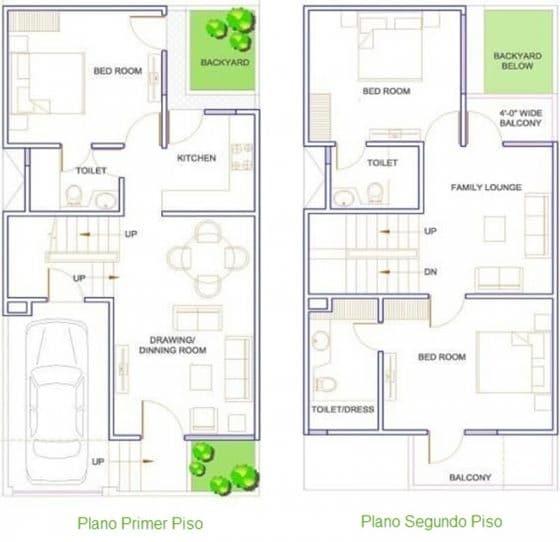 Plano de casa para terreno pequeño con medianeras