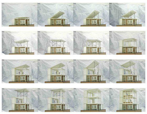 Plano 3D construcción por etapas de casas pequeñas de campo