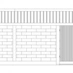 Plano de fachada casa hormigón pequeña b