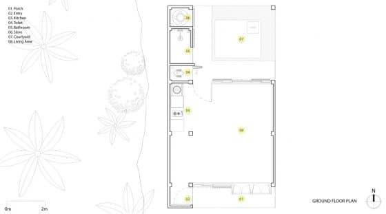 Plano de planta casa rural pequeña