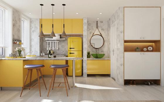 Diseño de cocina con muebles color amarillo