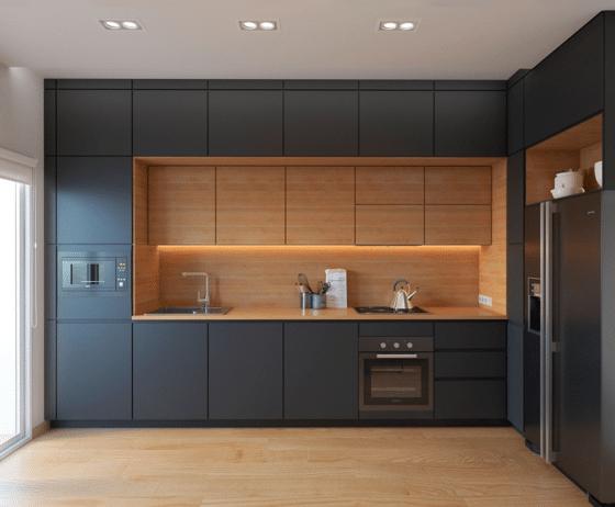 Diseño de cocina elegante madera gris en forma de L