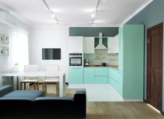 Diseño de pequeña cocina en tono de color verde claro
