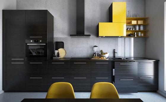 Diseño de cocina con formica gris y amarillo