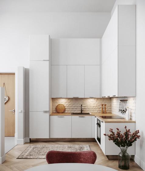 Diseño de cocina moderna forma de L