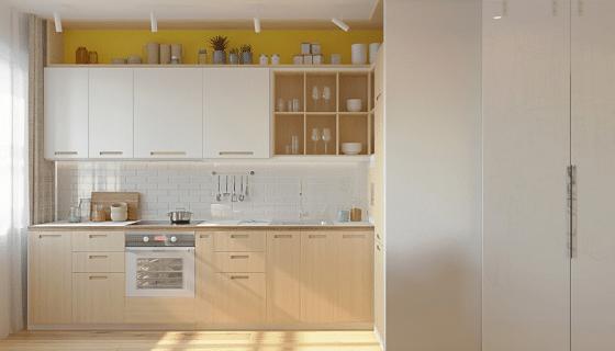Diseño de cocina pequeña madera natural