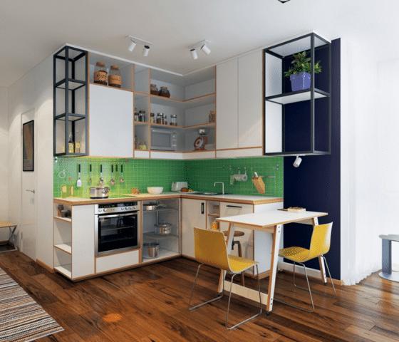 Diseño de cocina modular en forma L moderna
