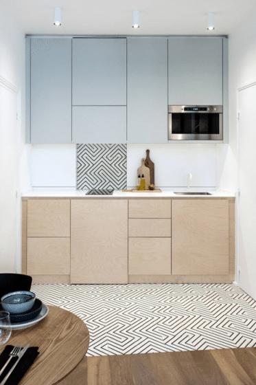 Diseño lineal de cocina muy pequeña
