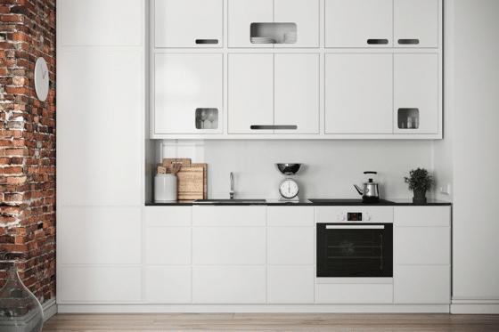Diseño pequeña cocina lineal color blanco