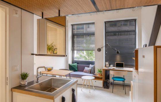 Diseño de sala y cocina muy pequeñas