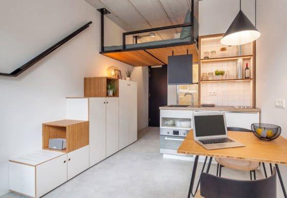 Diseño mini departamento de 18 metros cuadrados