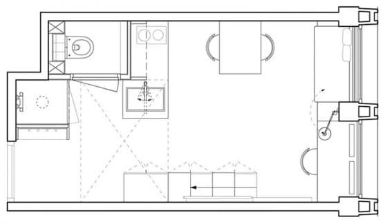 Plano de mini departamento de 18 metros cuadrados
