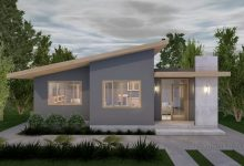 Idea de plano de casa de un piso con plano 3D