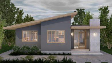 Photo of Idea de casa pequeña de un piso, incluye planos de planta, elevaciones y 3D