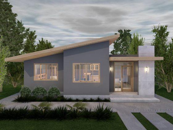 Diseño de fachada casa moderna de un piso