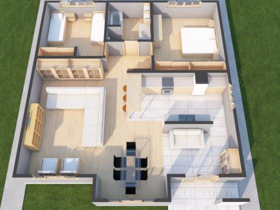 Plano de casa de un piso pequeña en 3D
