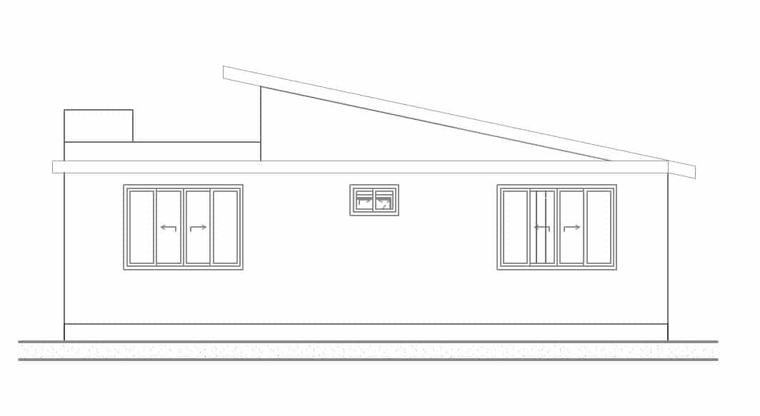 Plano fachada posterior casa un piso
