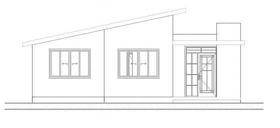 Plano fachada principal casa de 1 piso
