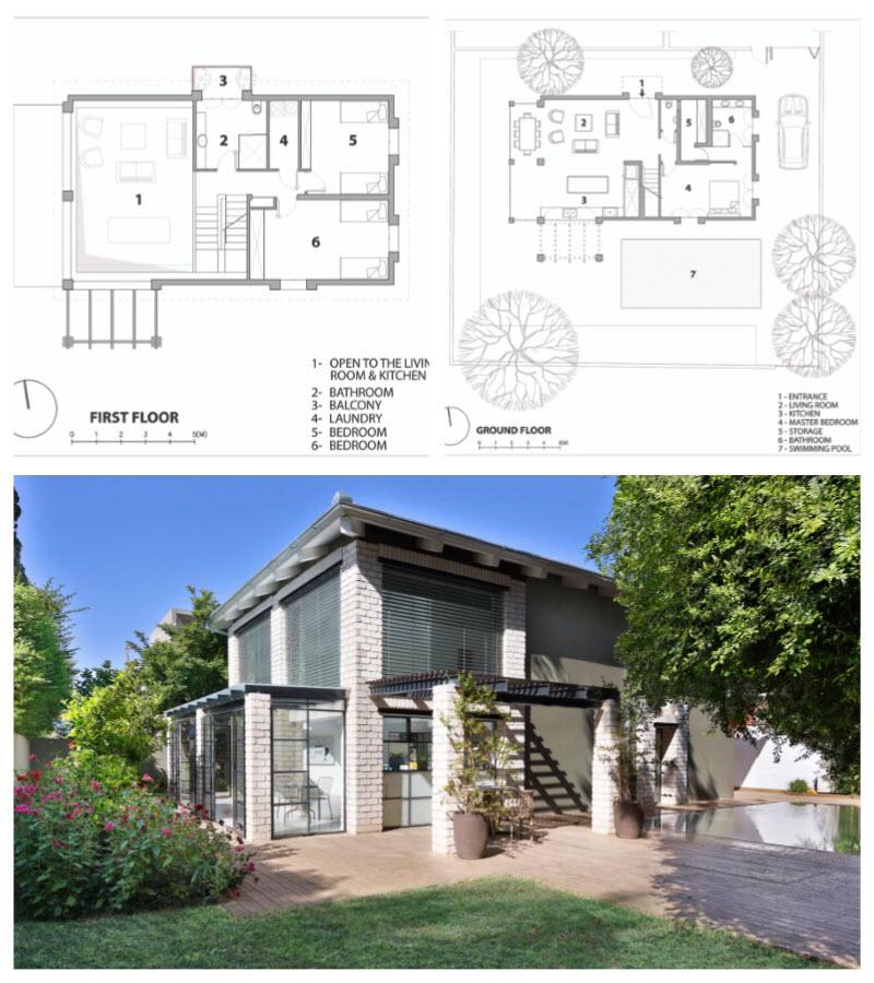Diseño casa de dos pisos construida con ladrillo