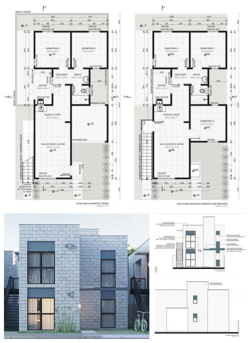 Diseño de planos de casa de dos pisos con medidas