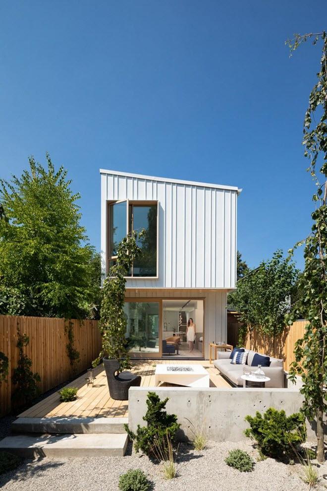 Diseño fachada casa dos pisos minimalista