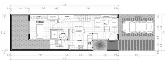 Plano casa pequeña de 2 pisos