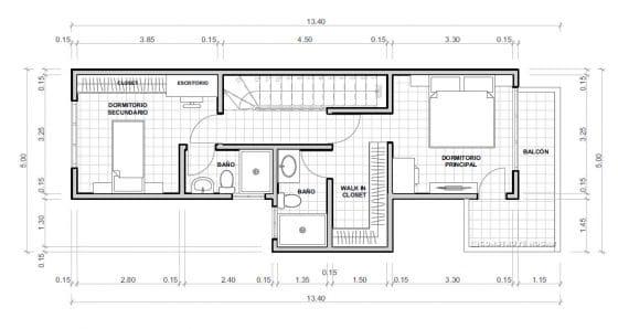 Plano casa pequeña dos niveles