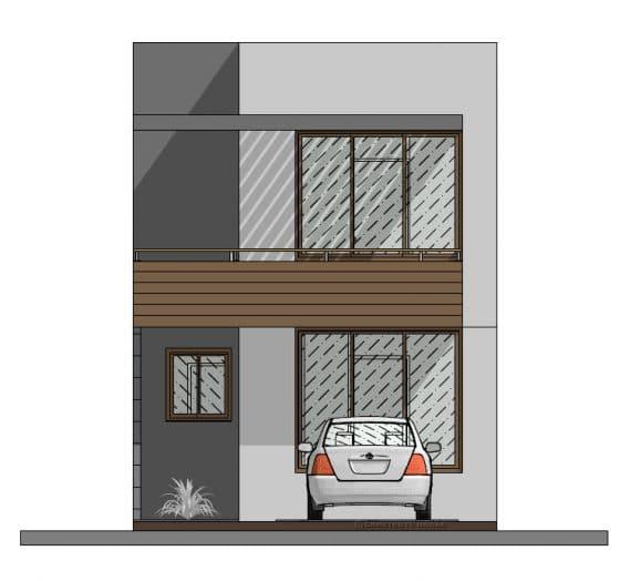 Plano fachada casa moderna pequeña